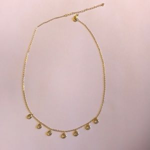 Jewelry - Pretty gold plated and crystal necklace. 16-18 in